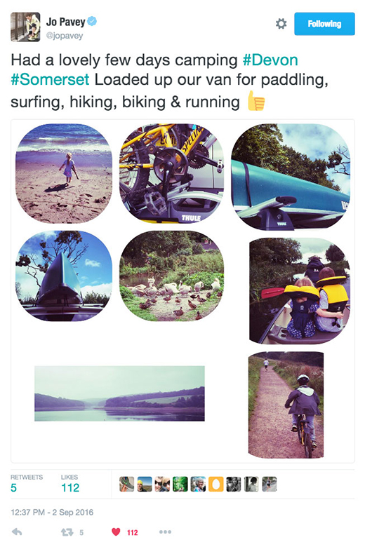 Jo Pavey's tweet aboyt enjoying summer camping and activities with Thule roof and bike racks